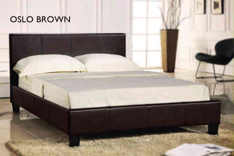 Wowcher Direct - Faux leather double or king size bed and an orthopaedic mattress - Save 64%
