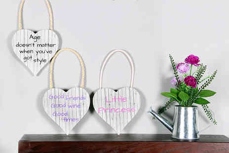 "Your Perfect Canvas - Set of two 5.5"" x 5.5"" hanging wooden heart plaque - Save 82%"