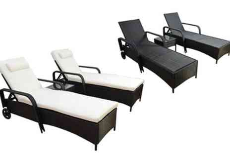 Groupon Goods Global GmbH - Two Outsunny Rattan Effect Sun Loungers With Side Table in Choice of Colour With Free Delivery - Save 0%
