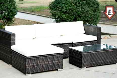Groupon Goods Global GmbH - Five Piece Garden Rattan Effect Furniture Set in Choice of Colour With Free Delivery - Save 0%