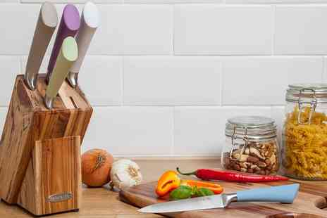 Groupon Goods Global GmbH - Natural Life Five Piece Knife Set in Wooden Block - Save 75%