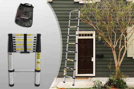 Duk - 3.2m telescopic lightweight ladder with safety stabiliser and carry bag - Save 74%
