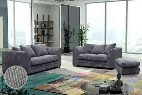 Furniture Stop - Two or three seater sofa or include a footstool choose from four colours - Save 66%