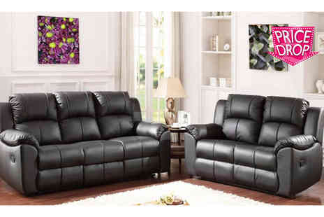 Sit Down Sooner - Leather reclining sofa set choose black or brown - Save 69%