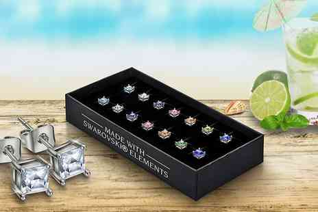 Groupon Goods Global GmbH - Set of Seven Princess Cut Earrings Made with Crystals from Swarovski - Save 90%