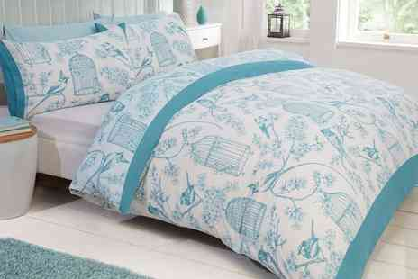 Groupon Goods Global GmbH - Vintage Style Bird Cage Duvet Set in Choice of Colour and Size - Save 71%