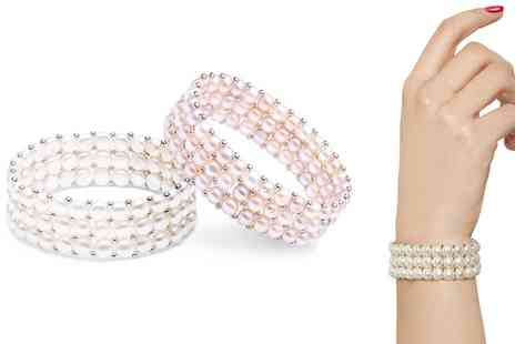 Groupon Goods Global GmbH - Pearl Three Row Stretch Bracelets - Save 86%