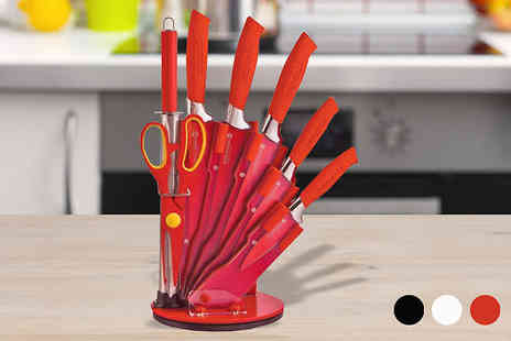 luxury bed and warehouse - 8 Piece Knife Set with Display Block in 4 Colours - Save 58%