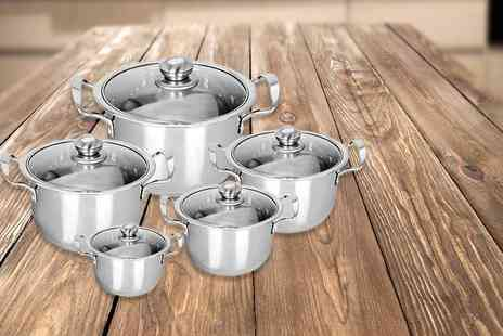 Denny International - Five or 12 piece stainless steel pan set - Save 67%