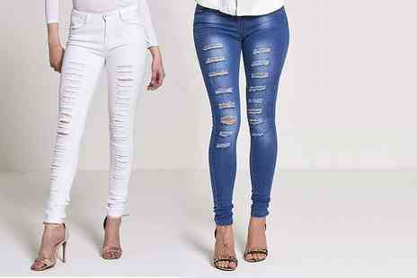 The Fashion City - Pair of super skinny ripped jeans choose denim blue or white - Save 67%