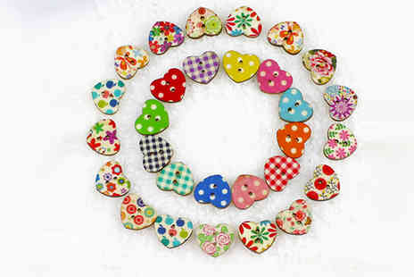 cyberdirect - 50 Heart Shaped Handmade Wooden Buttons - Save 81%