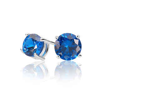 Evoked Design - Pair of blue sapphire stud earrings - Save 90%