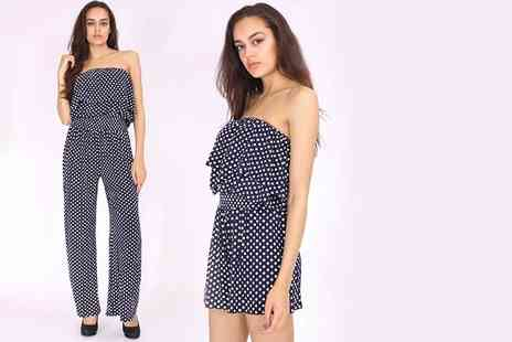 The Fashion City - Bandeau frill polka dot playsuit or jumpsuit choose black or navy - Save 75%