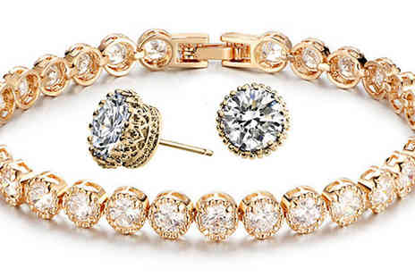 Graboom - Swarovski Elements Tennis Bracelet & Earrings Duo Set - Save 0%