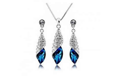 Gevani - White Gold Plated Blue Stone Set - Save 83%