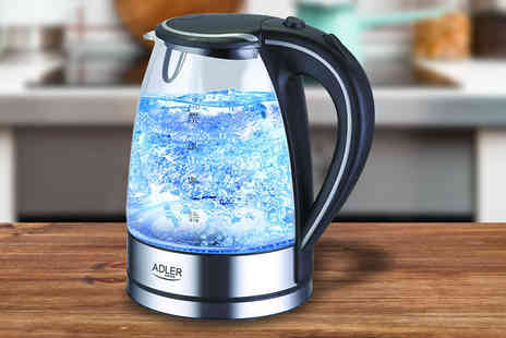 hartstone - Clear Glass LED Kettle EU Plug with UK Adapter - Save 60%