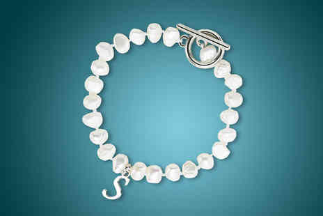 pearlshed - Freshwater Pearl Initial Bracelet - Save 83%