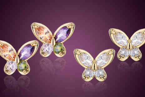 pearlshed - Butterfly Crystal Earrings Available in Two Colours - Save 85%