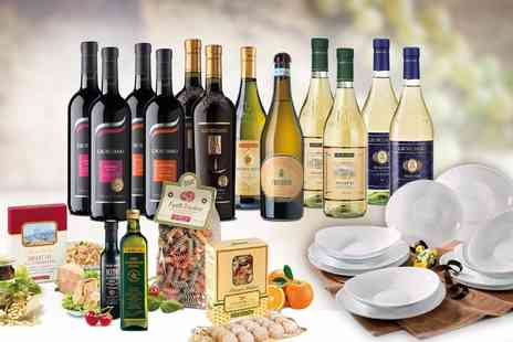 Giordano Wines - Italian hamper including 12 bottles of wine, delicious food and a 12 piece dinner set Plus Free Delivery - Save 0%