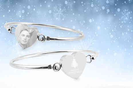 British Gem - Personalised heart Christmas bangle - Save 66%