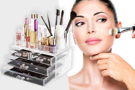 Fusion Homeware - Clear acrylic makeup and jewellery organiser - Save 62%
