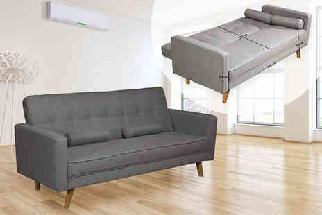 IT Ideas - Modern Boston three seater sofa bed choose from charcoal or grey - Save 75%