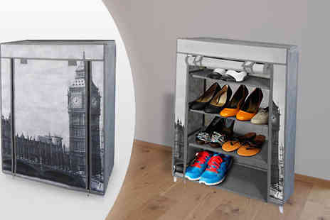 Home and Kitchen Direct - London Print Shoe Rack - Save 50%