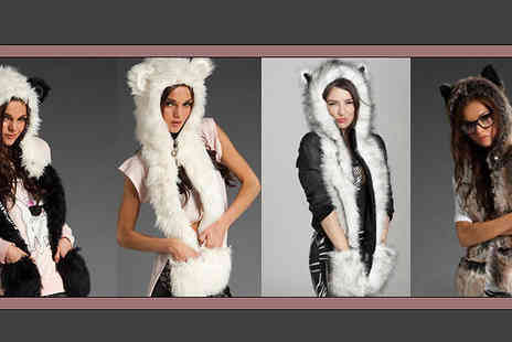 Last Chance Supplies - Three in One Faux Fur Hood, Scarf & Gloves - Save 64%
