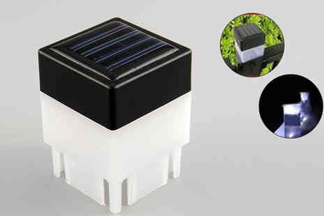 Last Chance Supplies - Pair of LED Solar Fence Post Cap Lights - Save 58%