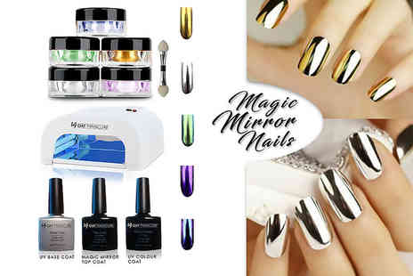 14 Day Manicure - Mirror nail UV kit with five colour powders - Save 82%