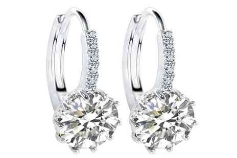 Groupon Goods Global GmbH - Clear Sapphire 10ct White Gold Filled Earrings - Save 95%