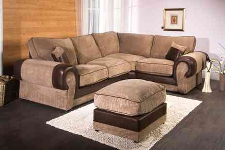 Groupon Goods Global GmbH - Milan Corner Sofa with Optional Footstool With Free Delivery - Save 62%