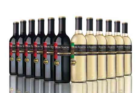 Vineyard Club - 12 Bottles of Don Simon Wine in Red, White or a Mixed Case with Free Delivery - Save 66%