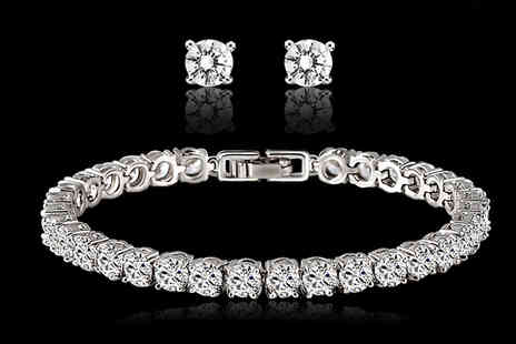 Marcus Emporium - Swarovski Elements Tennis Bracelet and Earrings Set - Save 82%