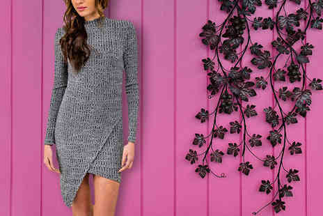 Marcus Emporium - Grey Bodycon Knitted Jumper Dress Three Sizes - Save 60%