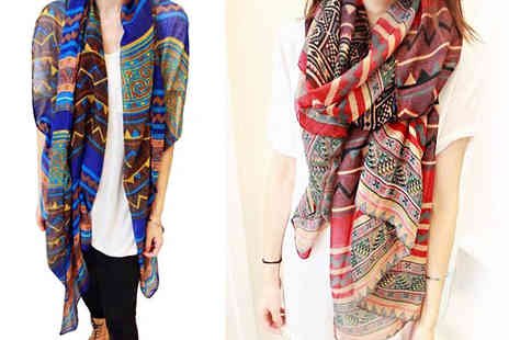 Marcus Emporium - Retro Printed Scarf Available in Two Colours - Save 76%