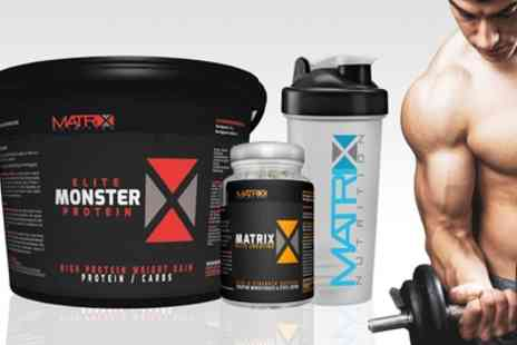 Groupon Goods Global GmbH - Matrix Monster Elite Protein with Shaker Plus Creatine Tablets - Save 74%
