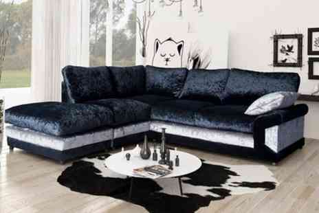 Groupon Goods Global GmbH - Lucia Velvet Corner Sofa with Matching Footstool in Choice of Colour With Free Delivery - Save 60%