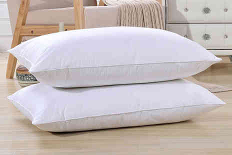 Groundlevel - Two high grade natural white goose feather and down pillows - Save 65%