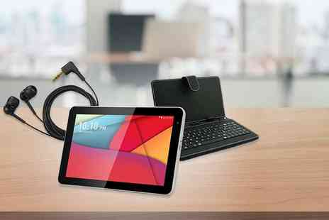 D2D - 10.1 inch Android 4.4 smart tablet bundle including a keyboard case and earphones - Save 74%