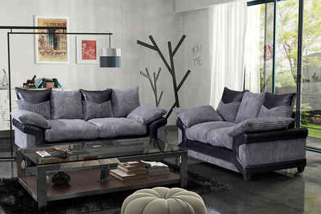 FurnitureStopUK - Grande Nuovo two or three seater faux leather and jumbo cord sofa - Save 75%