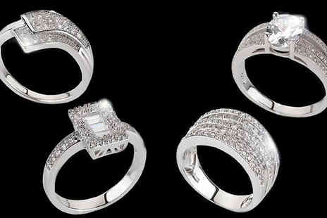 Home Decor Online - Choice of 4 White Gold Plated Zircon Encrusted Rings - Save 47%