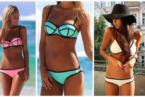 Snap One Up - Neoprene Triangle Bikini Set Available in Six Colours - Save 70%