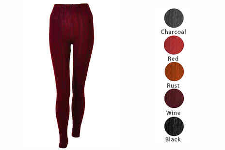 Nothing New 2 Wear - Cable Knit Leggings Five Colours - Save 68%