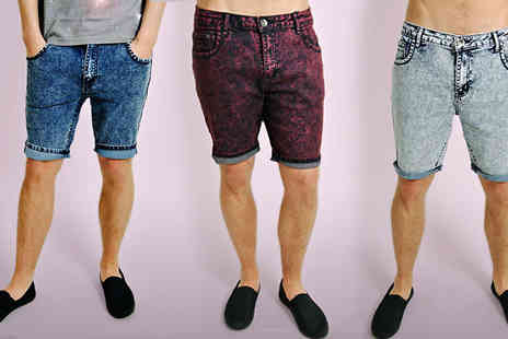 Nothing New 2 Wear - Acid Wash Slim Fit Shorts - Save 58%