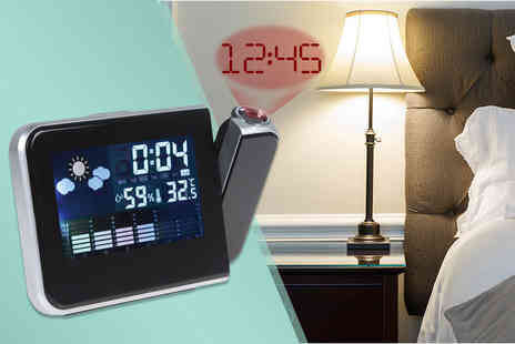 Zoozio - LCD digital projector alarm clock and weather station with temperature and humidity displays - Save 65%