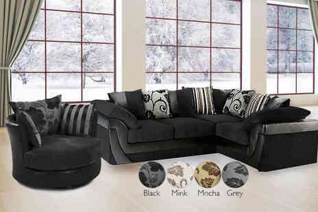 Global Furniture Wholesale - Selina fabric corner include a two or three seater sofa with with a chair - Save 70%