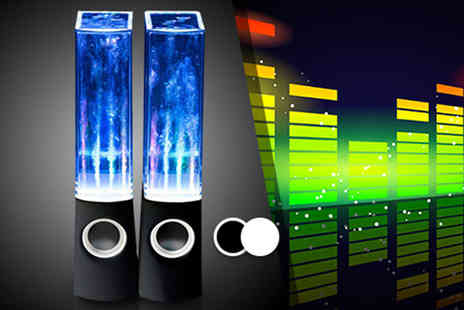 Chimp Electronics - Pair of dancing water speakers choose from black, white or pink - Save 80%