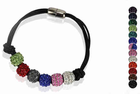 Pearl Info - Beaded Crystal Charm Bracelet in 13 Colours - Save 79%