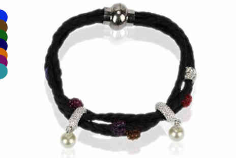 Pearl Info - Beaded Crystal Charm Bracelet in 8 Colours - Save 77%